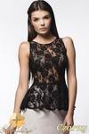 CM0635 AWAMA A21 Koronkowa bluzka damska z baskinką - czarna w sklepie internetowym Cudmoda