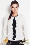CM0639 AWAMA A47 Bluzka damska z żabotem i długimi rękawami - biało czarna w sklepie internetowym Cudmoda