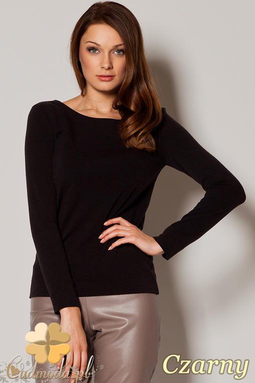 b71d53e66abc9a CM0644 FIGL M244 Sweter damski wiązany z tyłu na ozdobną tasiemkę - czarny  w sklepie internetowym. Powiększ zdjęcie