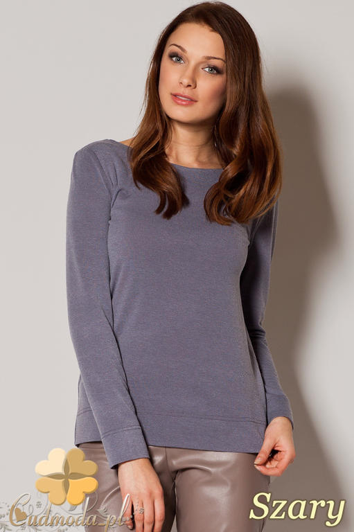 e3d1975ba209dc CM0644 FIGL M244 Sweter damski wiązany z tyłu na ozdobną tasiemkę - szary w  sklepie internetowym. Powiększ zdjęcie