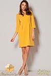 CM0647 FIGL M249 Sukienka tulipan z rękawem 3/4 - żółta w sklepie internetowym Cudmoda