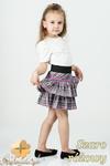 MA007 Mini spódniczka w szkocką kratę z gumą, falbanami i kokardką - szaro - różowa w sklepie internetowym Cudmoda