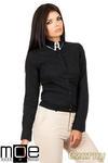 CM0665 Koszula damska z podwójnym kołnierzykiem w kontrastującym kolorze - czarna w sklepie internetowym Cudmoda