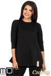 CM0668 Pikowana tunika bluzka damska z długimi rękawami - czarna w sklepie internetowym Cudmoda