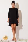 CM0671 KATRUS K134 Sukienka asymetryczna tunika z pikowanej tkani - czarna w sklepie internetowym Cudmoda