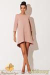CM0671 KATRUS K134 Sukienka asymetryczna tunika z pikowanej tkani - różowa w sklepie internetowym Cudmoda
