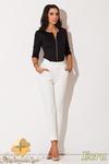 CM0655 KATRUS K131 Pikowane spodnie damskie nogawka 7/8 - ecru w sklepie internetowym Cudmoda