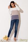 CM0656 KATRUS K142 Trójkolorowy sweter damski nietoperz - szary w sklepie internetowym Cudmoda