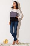 CM0656 KATRUS K142 Trójkolorowy sweter damski nietoperz - czarny w sklepie internetowym Cudmoda