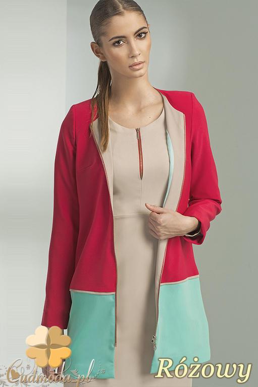 85bc91ca66eab CM0712 NIFE Z09 Długi żakiet - płaszcz zapinany na zamek - różowy w sklepie  internetowym Cudmoda. Powiększ zdjęcie