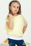 MA021 Dziewczęca bluzka nietoperz + bokserka - żółta w sklepie internetowym Cudmoda
