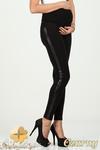 CM0731 Ciążowe legginsy z lampasem ze skóry - czarne w sklepie internetowym Cudmoda