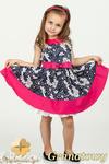 MA052 Rozkloszowana sukienka dziecięca w kwiaty - granatowa w sklepie internetowym Cudmoda