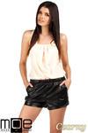 CM0753 Modne szorty damskie ze skóry - czarne OUTLET w sklepie internetowym Cudmoda