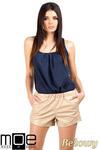 CM0753 Modne szorty damskie ze skóry - beżowe OUTLET w sklepie internetowym Cudmoda