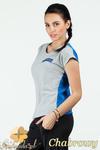 CM0748 Dwukolorowa bluzka damska z ozdobnym zamkiem - chabrowa w sklepie internetowym Cudmoda