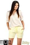 CM0765 Dresowe szorty damskie z kieszeniami - żółte OUTLET w sklepie internetowym Cudmoda