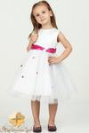 MA055 Oryginalna dziewczęca sukienka z tiulu w różowe kwiatuszki w sklepie internetowym Cudmoda