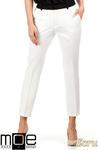 CM0777 Eleganckie spodnie damskie z kontrastowym pasem - ecru w sklepie internetowym Cudmoda