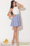 CM0475 KATRUS K083 Trójkolorowa sukienka kontrafałda - niebieska -20% w sklepie internetowym Cudmoda