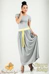 CM0773 Komplet spódnica maksi + t-shirt - szaro - zółty w sklepie internetowym Cudmoda