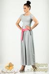 CM0773 Komplet spódnica maksi + t-shirt - szaro - różowy w sklepie internetowym Cudmoda