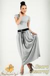 CM0773 Komplet spódnica maksi + t-shirt - szaro - czarny w sklepie internetowym Cudmoda