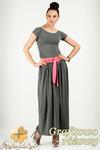 CM0773 Komplet spódnica maksi + t-shirt - grafitowo - różowy w sklepie internetowym Cudmoda