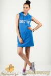 CM0774 Sukienka mini w sportowym stylu z dresowej dzianiny - chabrowa w sklepie internetowym Cudmoda