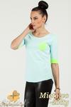 CM0775 Bluzka damska z kontrastowymi ściągaczami i kieszonką - miętowo - żółta w sklepie internetowym Cudmoda