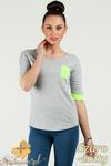CM0775 Bluzka damska z kontrastowymi ściągaczami i kieszonką - szaro - żółta w sklepie internetowym Cudmoda