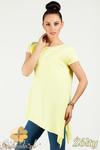 CM0776 Asymetryczna bluzka z wiązanym bokiem - żółta w sklepie internetowym Cudmoda