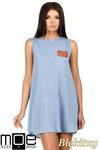 CM0783 Zwiewna letnia tunika z kieszonką - błękitna w sklepie internetowym Cudmoda