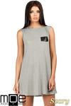 CM0783 Zwiewna letnia tunika z kieszonką - szara w sklepie internetowym Cudmoda