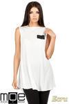 CM0783 Zwiewna letnia tunika z kieszonką - ecru w sklepie internetowym Cudmoda