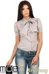 CM0786 Koszula damska w kratkę z kokardą i krótkim rękawem - brązowa w sklepie internetowym Cudmoda