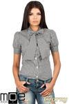 CM0786 Koszula damska w kratkę z kokardą i krótkim rękawem - czarna w sklepie internetowym Cudmoda