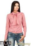 CM0787 Oryginalna koszula w kratkę z kokardą i długim rękawem - czerwona w sklepie internetowym Cudmoda