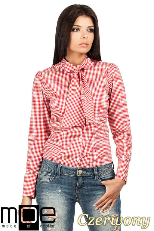 c251ead764 CM0787 Oryginalna koszula w kratkę z kokardą i długim rękawem - czerwona w  sklepie internetowym Cudmoda. Powiększ zdjęcie
