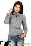 CM0787 Oryginalna koszula w kratkę z kokardą i długim rękawem - czarna w sklepie internetowym Cudmoda