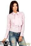 CM0787 Oryginalna koszula w kratkę z kokardą i długim rękawem - różowa w sklepie internetowym Cudmoda