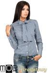 CM0787 Oryginalna koszula w kratkę z kokardą i długim rękawem - granatowa w sklepie internetowym Cudmoda