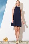 CM0810 FIGL M277 Sukienka tunika w kształcie litery A z wiązaniem na szyi - granatowa w sklepie internetowym Cudmoda