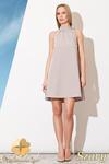 CM0810 FIGL M277 Sukienka tunika w kształcie litery A z wiązaniem na szyi - szara w sklepie internetowym Cudmoda