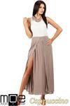 CM0814 Sukienka maxi dwukolorowa z minigolfem - cappuccino w sklepie internetowym Cudmoda
