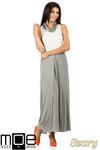 CM0814 Sukienka maxi dwukolorowa z minigolfem - szara w sklepie internetowym Cudmoda