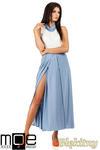 CM0814 Sukienka maxi dwukolorowa z minigolfem - błękitna w sklepie internetowym Cudmoda