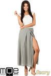 CM0815 Długa spódnica maxi z czterech klinów - szara w sklepie internetowym Cudmoda