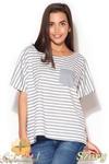 CM0869 KATRUS K165 Luźna bluzka damska w marynarskie paski - szara w sklepie internetowym Cudmoda