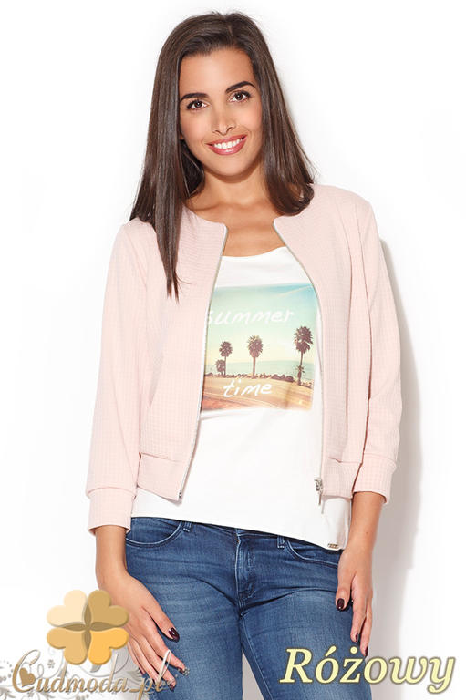 bed00d2d421bf CM0873 KATRUS K169 Bluza damska zapinana na zamek - różowa w sklepie  internetowym Cudmoda. Powiększ zdjęcie